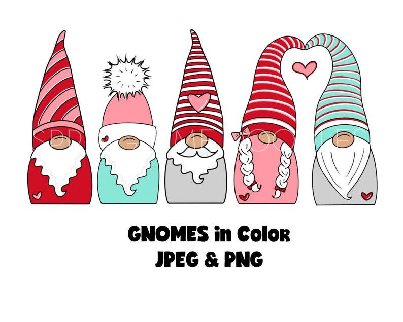 Gnome Digital Clipart Valentine S Day Etsy In 2021 Valentines Day Clipart Christmas Drawing Gnomes
