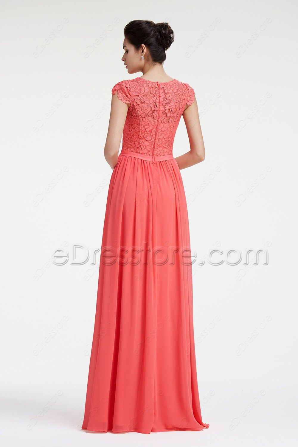 Modest Lace Coral Bridesmaid Dresses with Sleeves | Modest ...