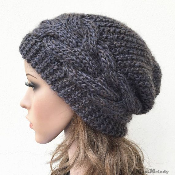 Hand knit hat Oversized Chunky Wool Hat slouchy hat dark Olive cable ...
