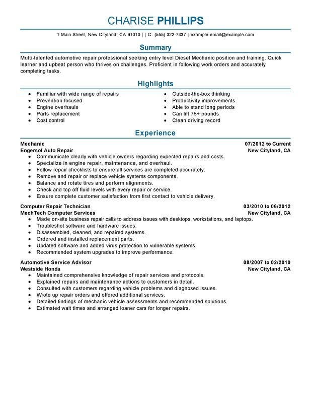 Entry Level Mechanic Resume Sample  Maryland Info
