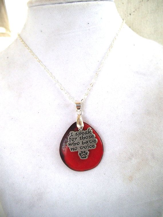 Animal Awareness Necklace Red Organic by TerriJeansAdornments