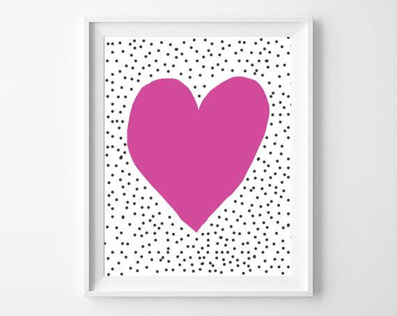 Best Pink Heart With Grey Dots Around Fun Pop Art Print Home 400 x 300