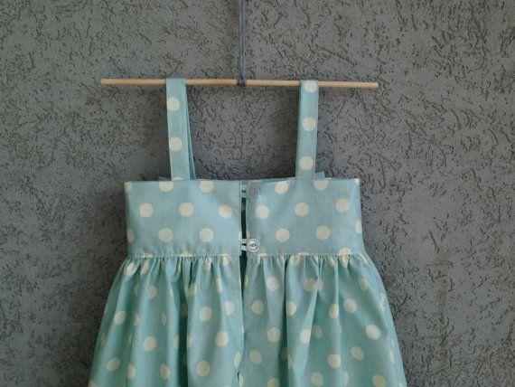 Luz a azul de lunares bebé/niño pequeño vestido vestido de