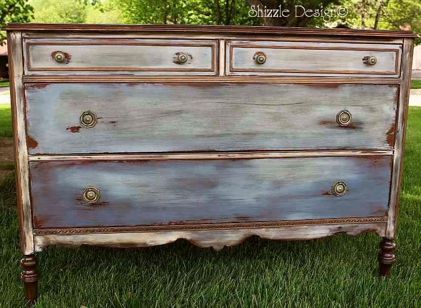 Antique dresser hand painted and waxed by shizzle design Best color to paint dresser
