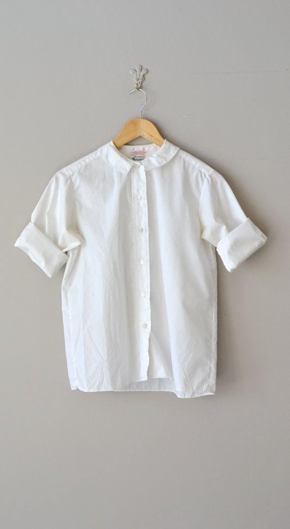 31509a964804c Academy blouse   vintage 1950s blouse   white cotton by DearGolden ...