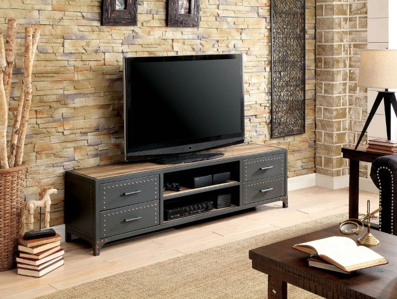 Cm5904 Tv 62 Galway Industrial Style Sand Black Finish Metal Tv