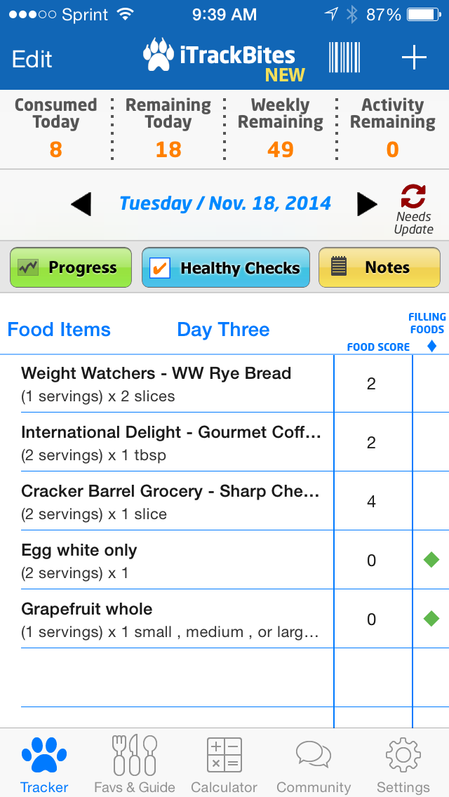 I Track Bites >> Iphone App Track Bites Tracks Your Points Has Weight Point Plus