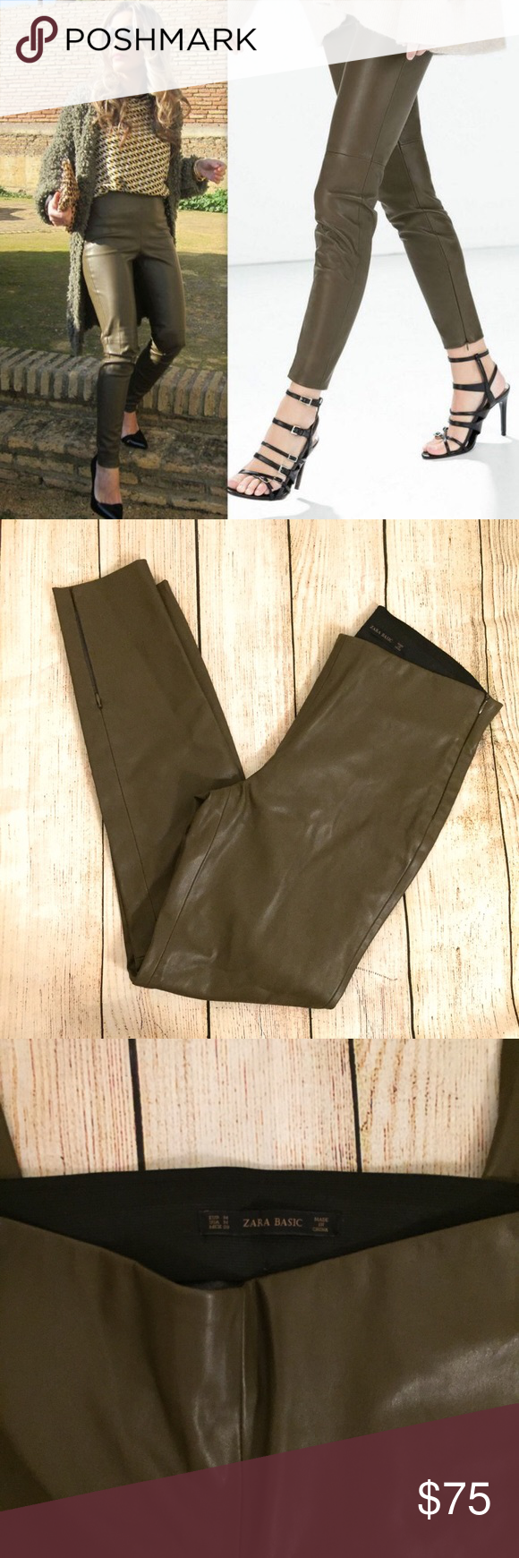 69c11b475326b ZARA OLIVE GREEN FAUX LEATHER TROUSERS LEGGINGS NEW NO TAGS Zara Pants  Trousers