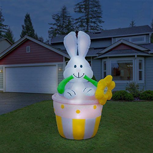 Holidayana Easter Inflatable / Bunny In Basket Easter Bunny Inflatable / 6  Ft Easter Yard Decorations / LED Easter Lighted Decorations / Early Bird  Sale