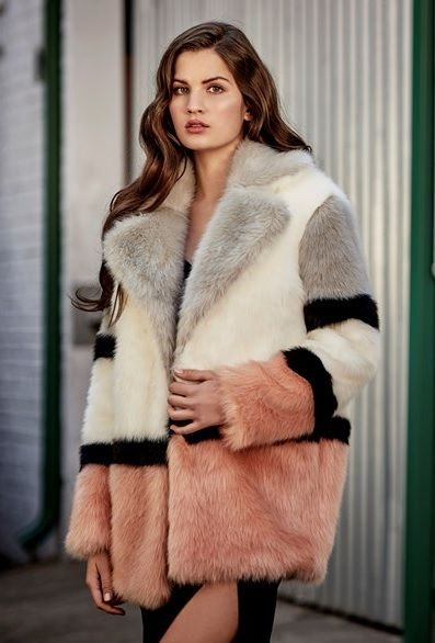 Lipsy London Jakke Colour Block Faux, Fake Fur Coats London