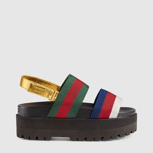 Sandalia de Plataforma con Tribanda Gucci Nmegf