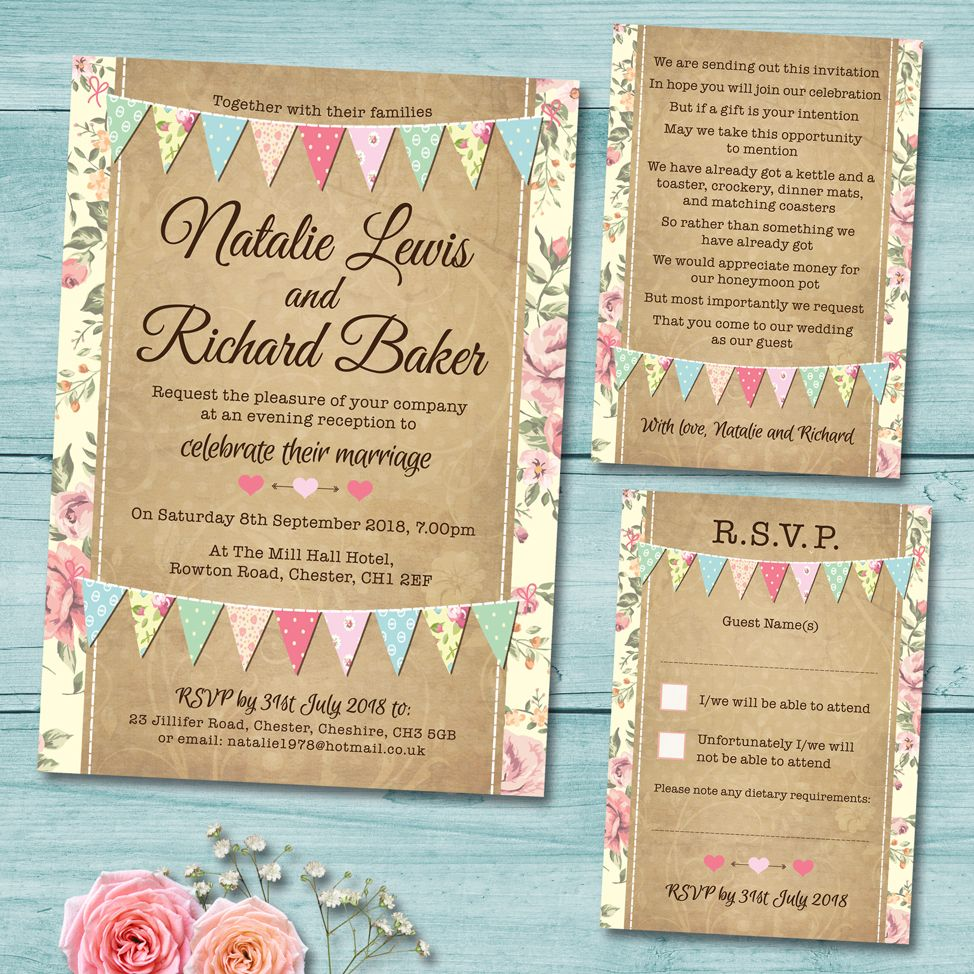 Pastel Bunting Wedding Invitation Set, Includes; Wedding Invite ...