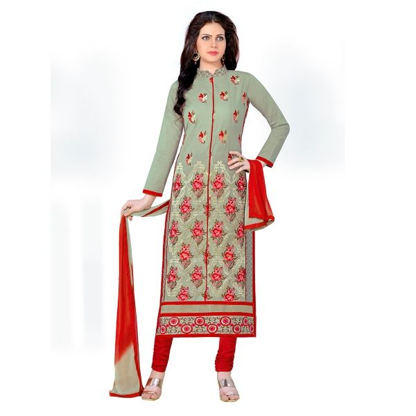 Buy oliva Green Glaze Cotton With Embroidery Work Straight Suit ...