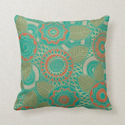 Bright teal rust gold classy ornate floral pattern throw pillow