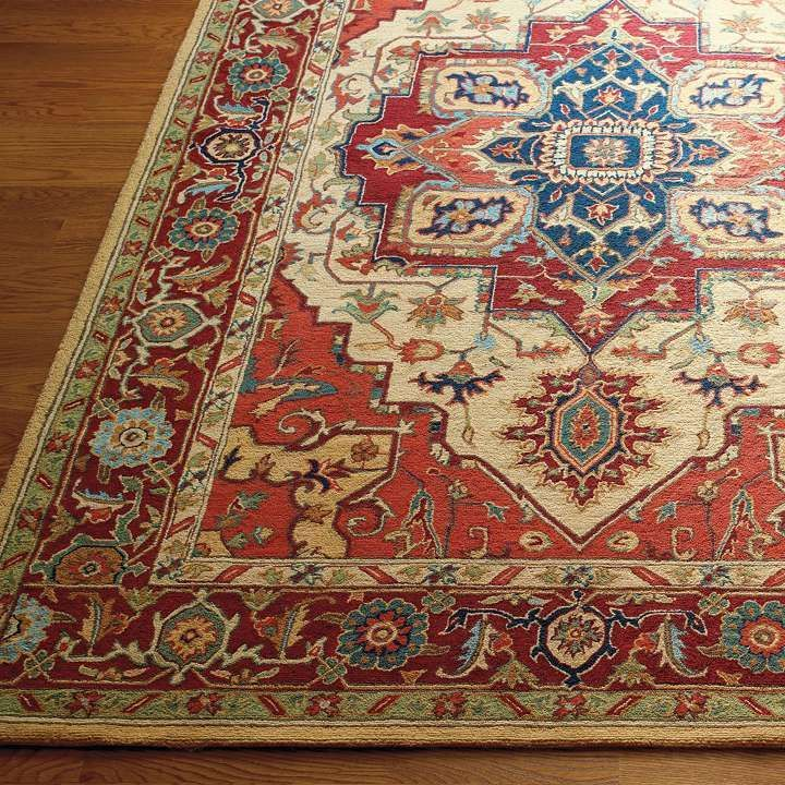 Phoenix Hand Hooked Wool Area Rugs From Frontgate Red Beige And Navy Blue