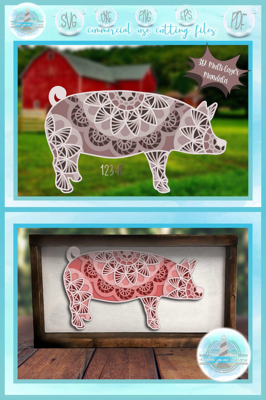 Download 3D Layered Design | Pig Mandala SVG file | Multi Layered ...