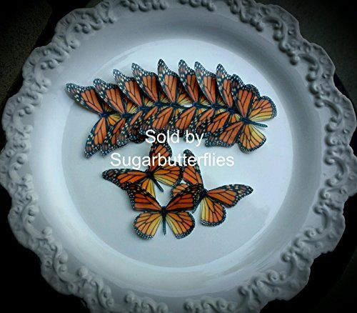 Edible Butterfly Xlarge Orange Monarch Cakecupcake Topper Set of 12 * To view further for this item, visit the image link.