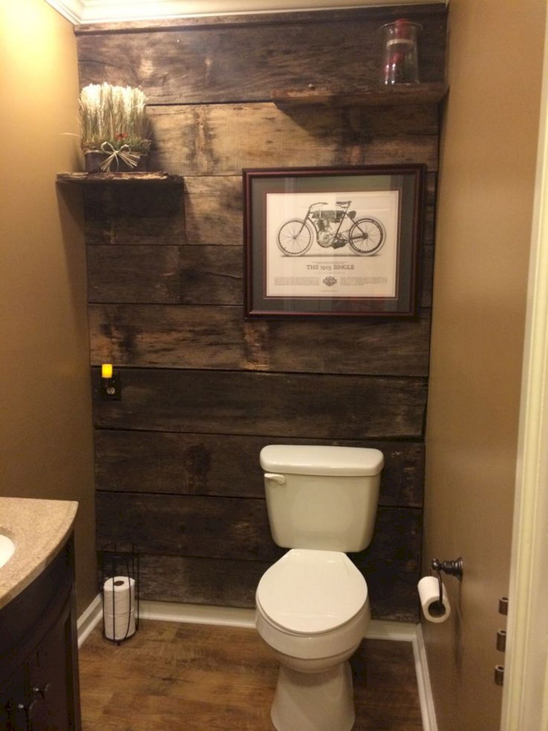 22 Ways To Boost And Refresh Your Bathroom By Adding Wood Accents: Barn Wood Bathroom, Cottage Bathroom Design Ideas, Rustic Bathrooms