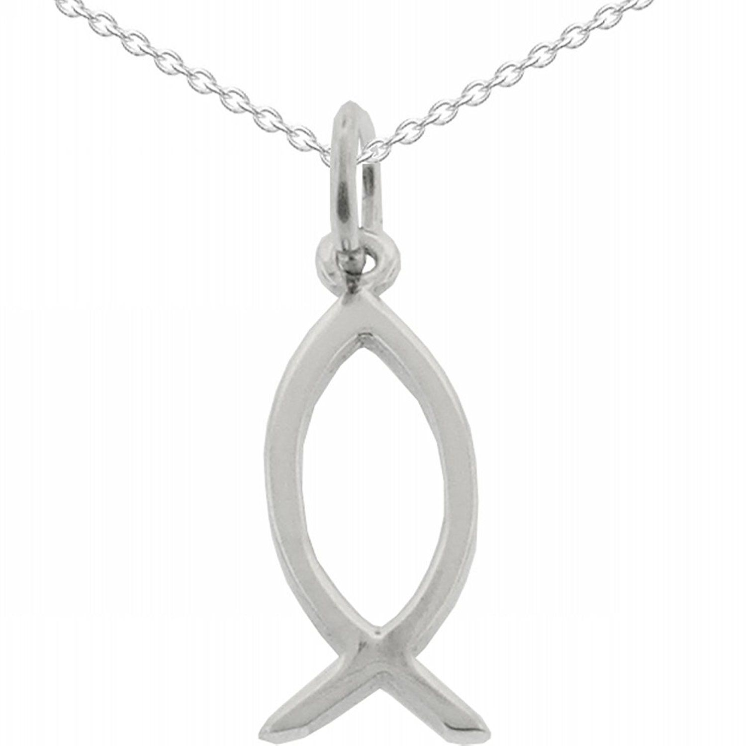 925 Sterling Silver Ichthus Jesus Fish Pendant & Chain 18