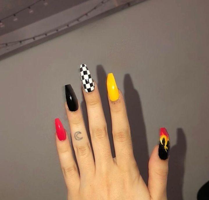 Pinterest Angietopaz13 Checkered Nails Fire Nails Cute Acrylic Nails