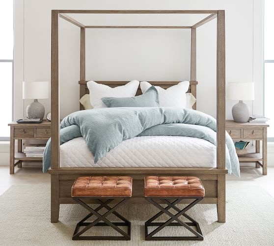 Farmhouse Canopy Bed Wooden Beds Pottery Barn in 2020