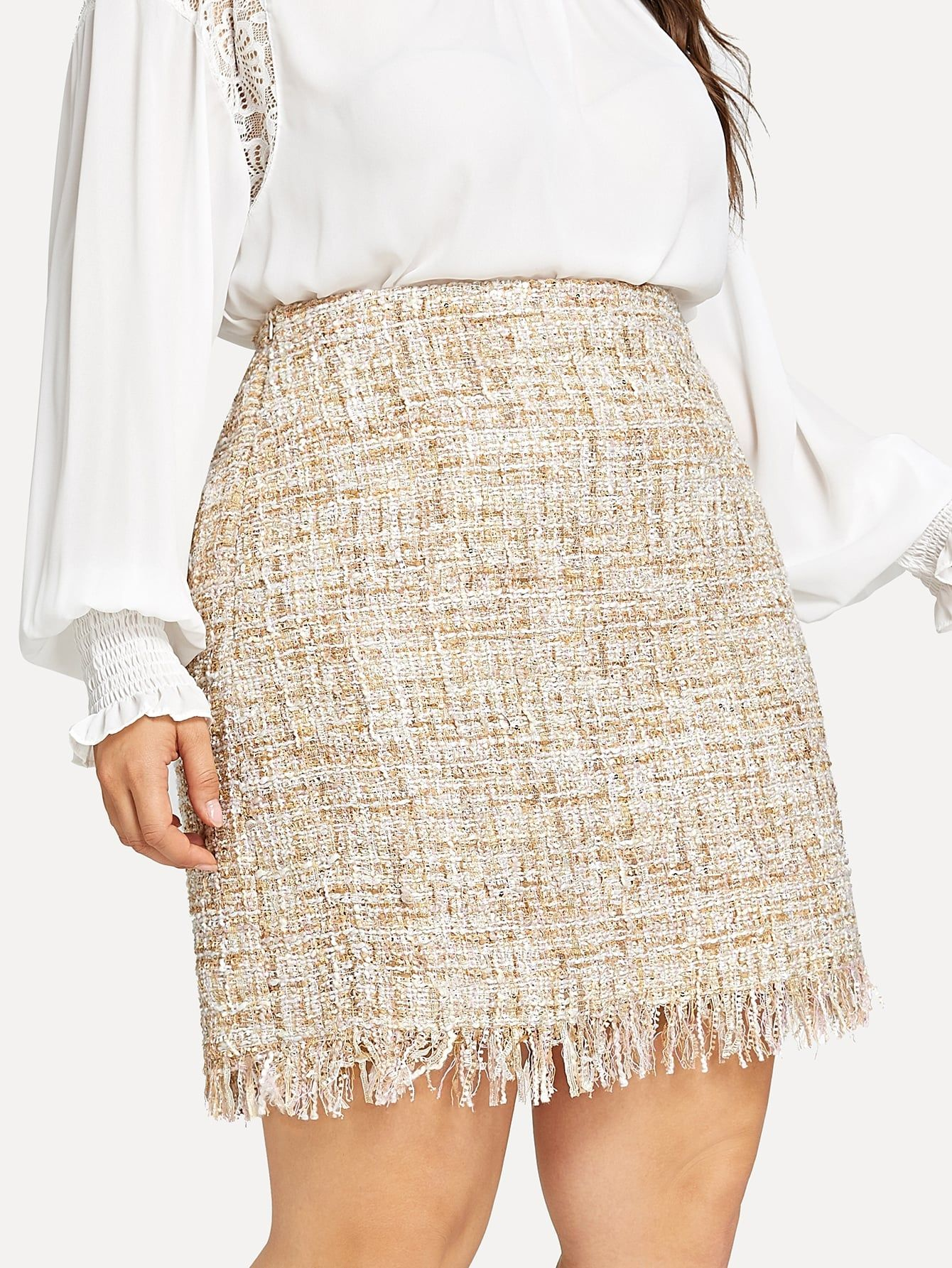 9782cd46e18 Plus Frayed Trim Tweed Skirt Trim Frayed Skirt