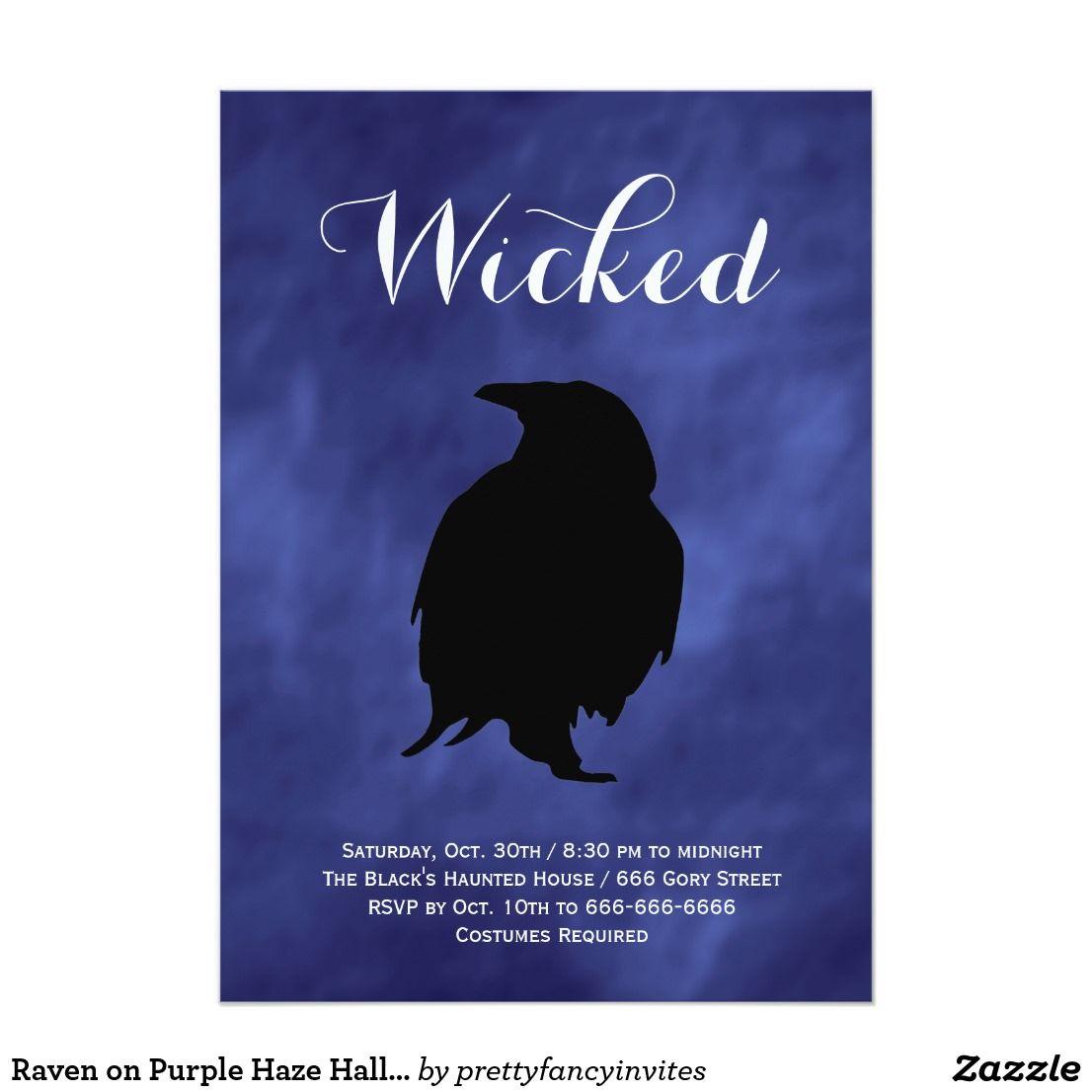 Raven on Purple Haze Halloween Invitation