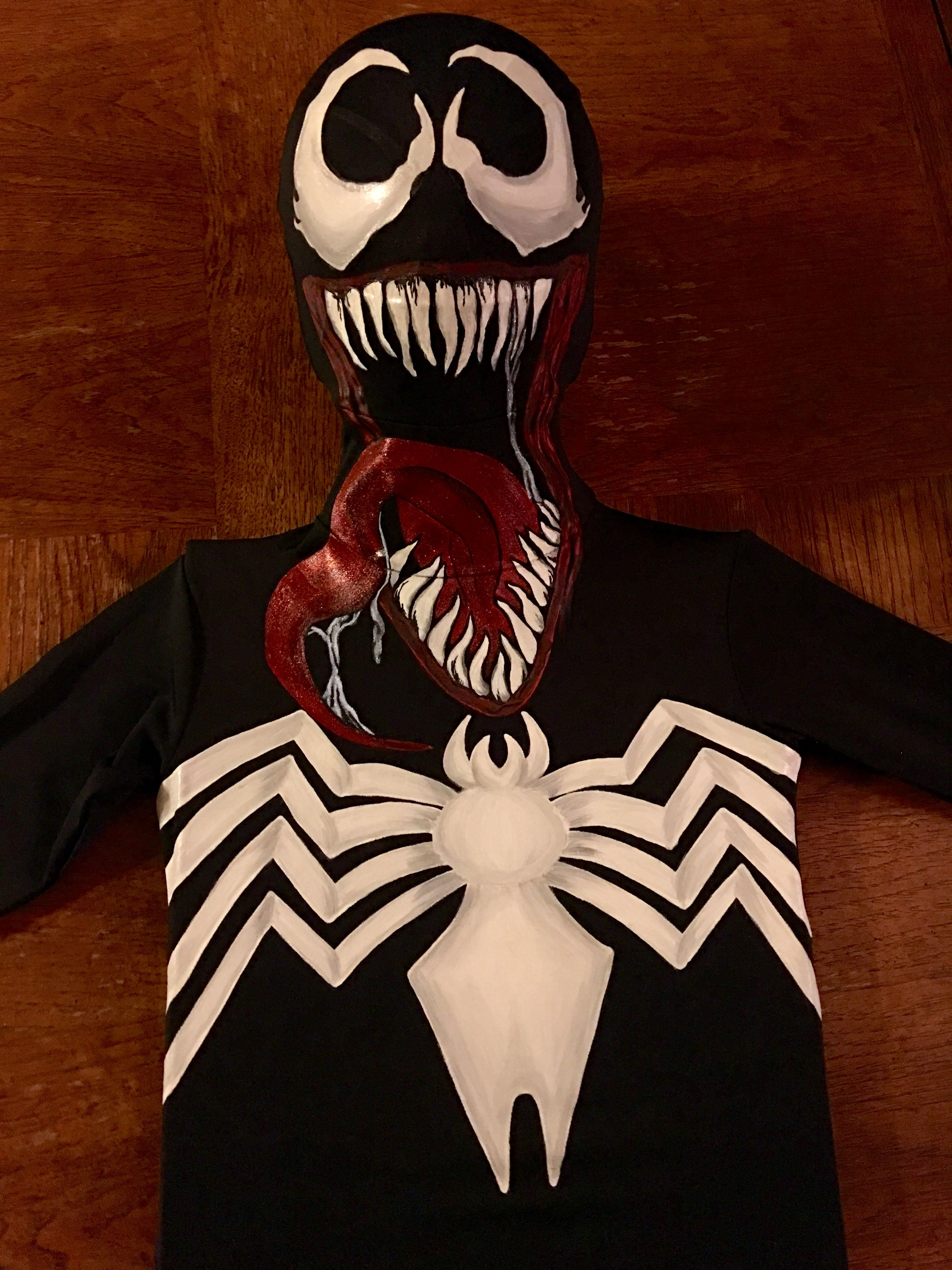 Diy Venom Costume Handpainted Venom Childs Cosplay From A Morphsuit