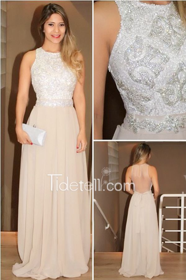Exquisite A-line Scoop Long Chiffon Prom Dress with Rhinestone ...