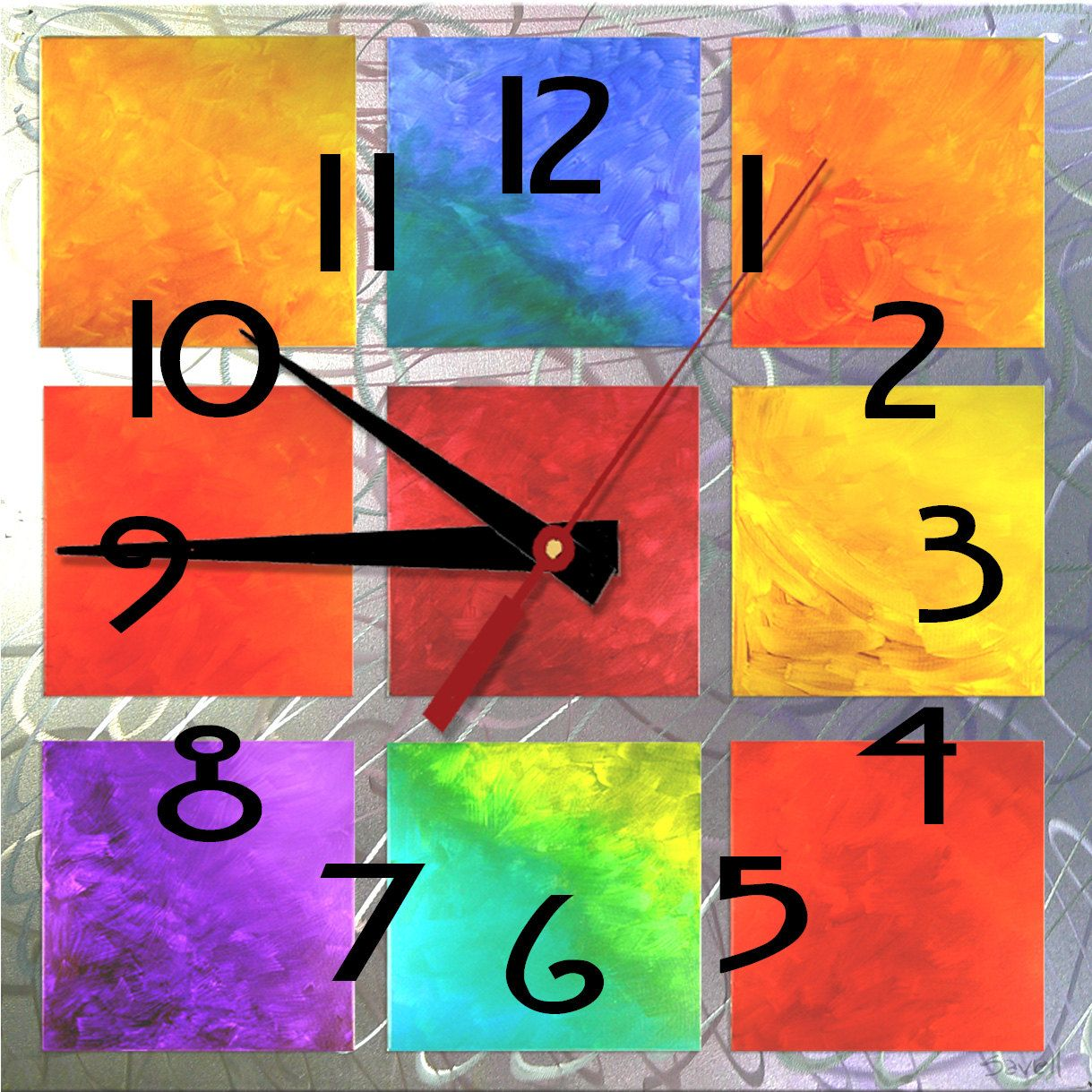 Colorful Squares Clock - Abstract Number 3 Clock 8x8 Contemporary by SavellStudioArtKlock on Etsy. $29.95