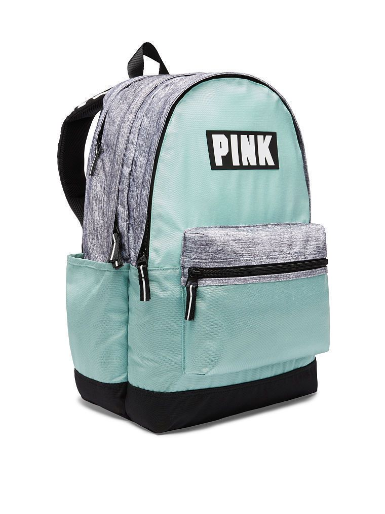 Victoria s Secret VS PINK logo CAMPUS BACKPACK Seafoam Mint Gray Book-bag  New 8c084dbe77