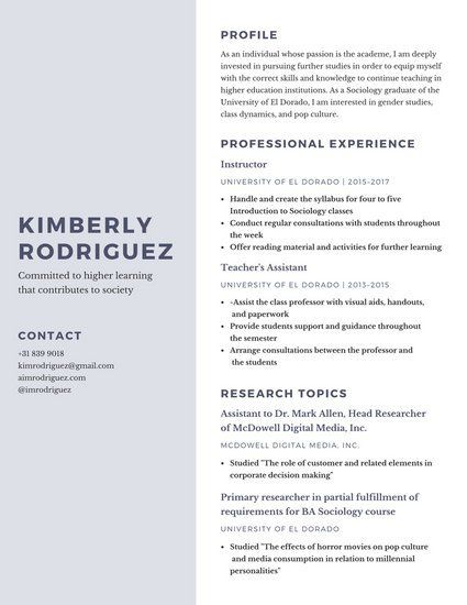 Gray And Purple Simple Research Resume Gender Studies Cv Examples Teaching