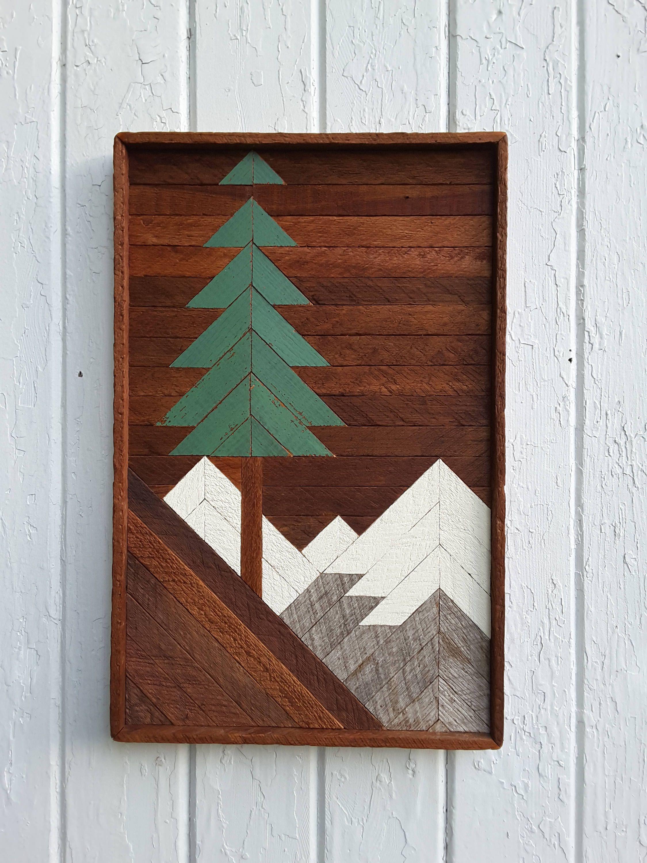 Reclaimed Wood Wall Art Mountain Pine Tree Scene 20 By 13