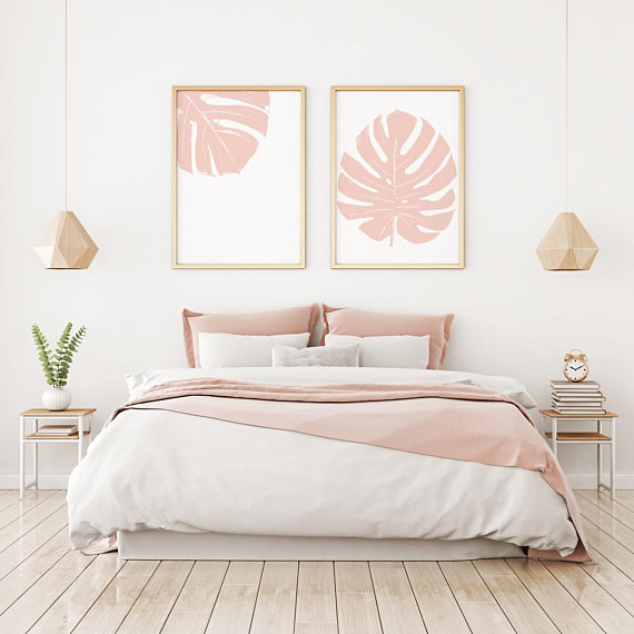 Set of 2 Monstera Prints in Blush, Instant Downloa