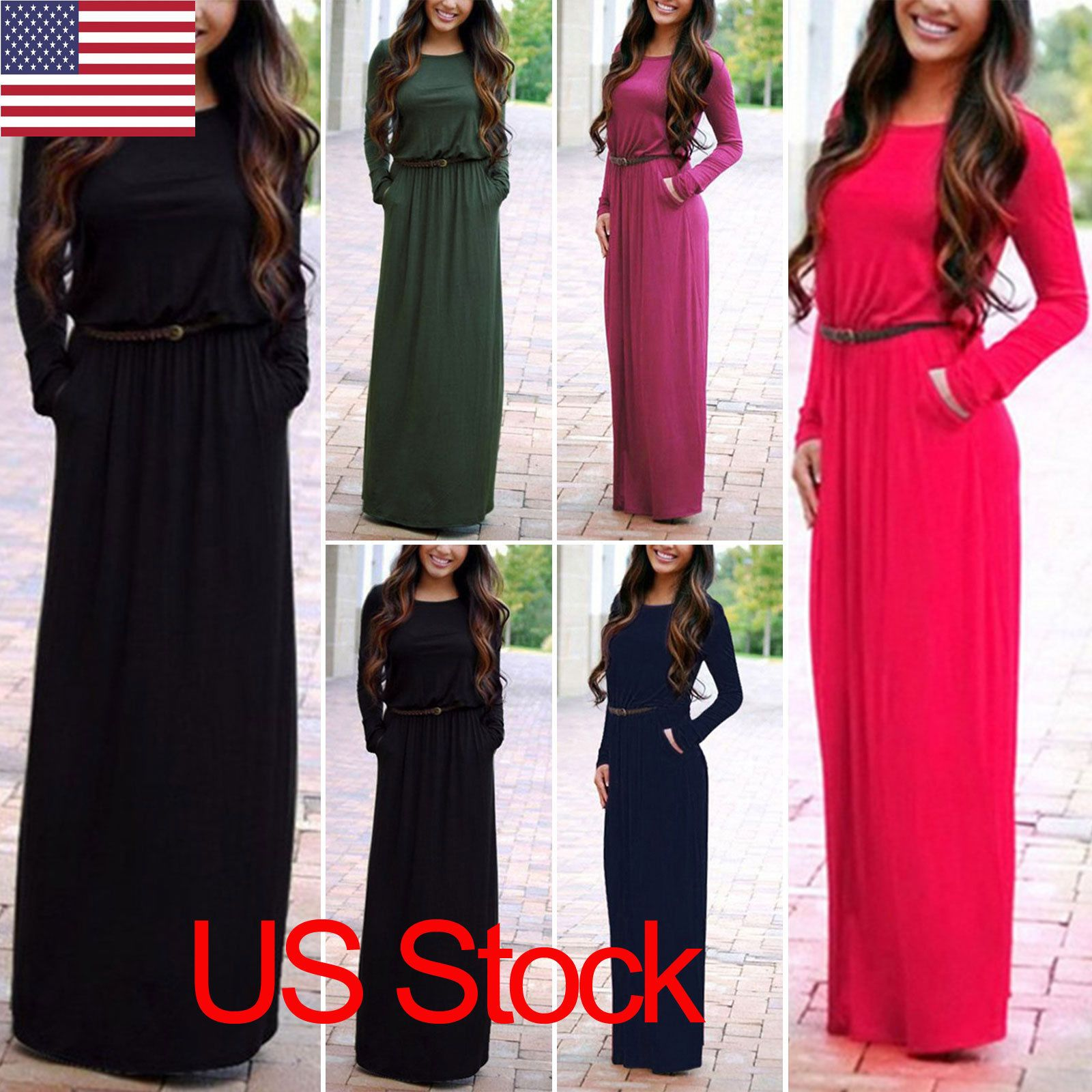 Nice amazing us stock women long sleeve maxi dress evening cocktail