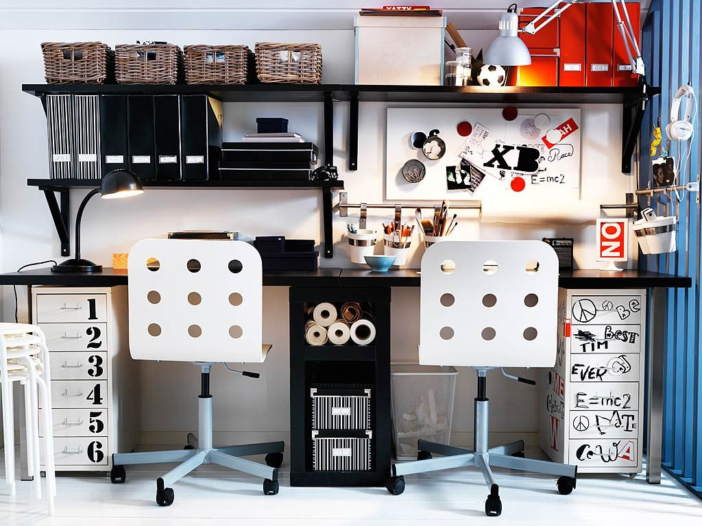 Super Minimalist IKEA Teen Shared Workspace Design with Black and White  SW13