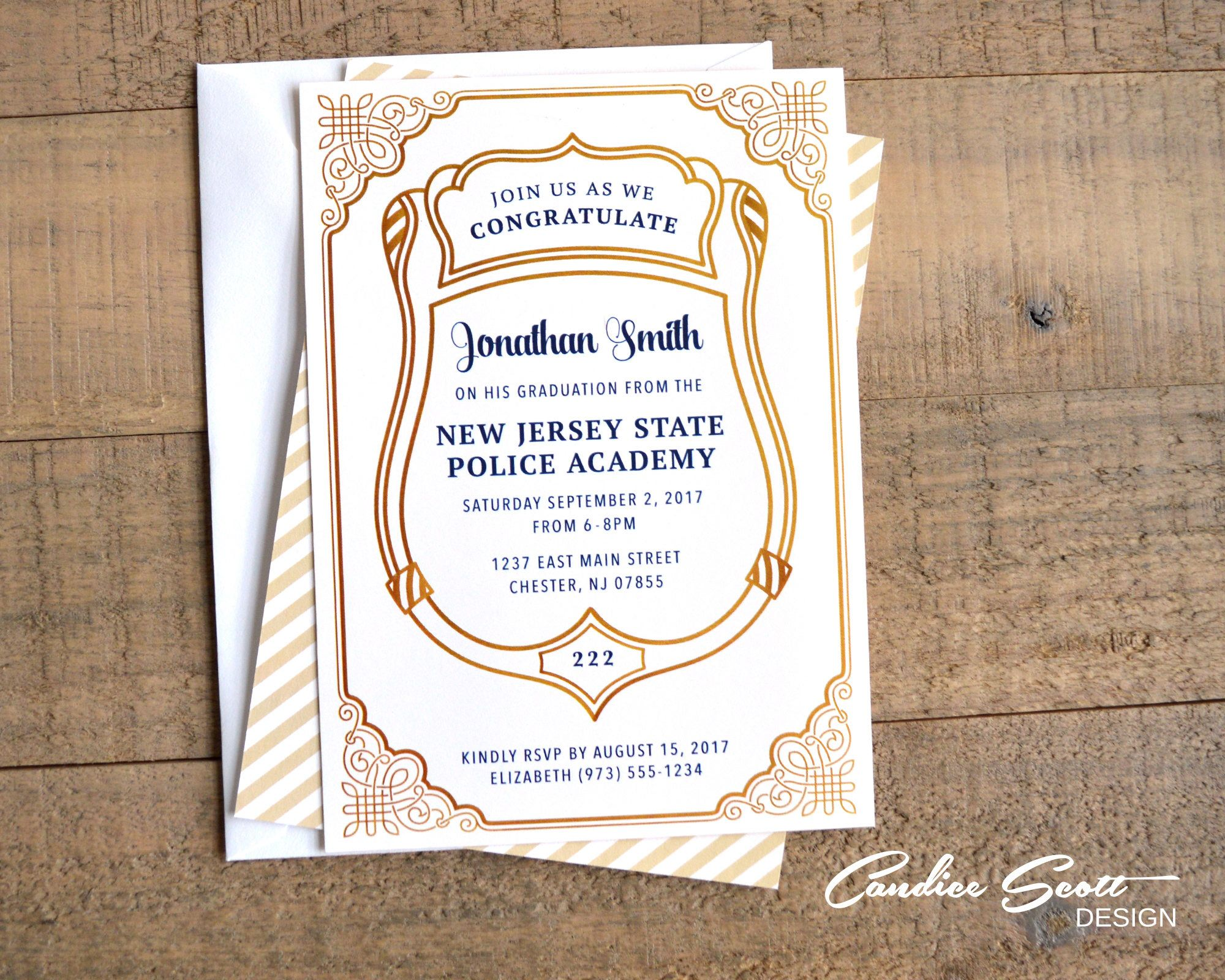 Police Graduation Formal Invitation With Class Number By