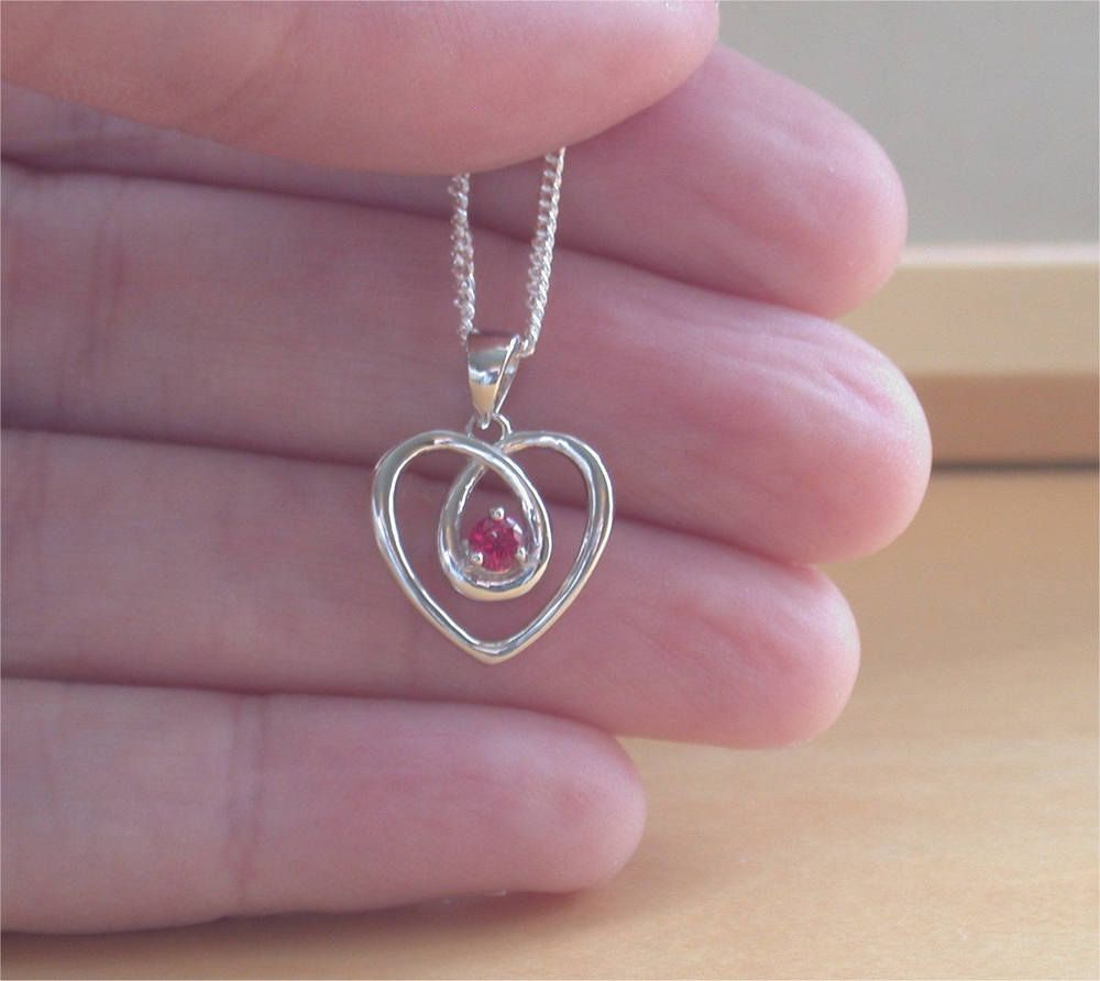 Details about ruby lab created heart pendant u