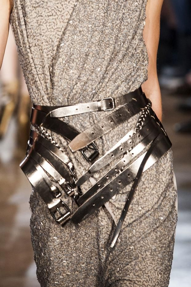 Love the metallic pewter leather Multiple Layered Buckle Belt from A.F. Vandevorst Details S/S '13