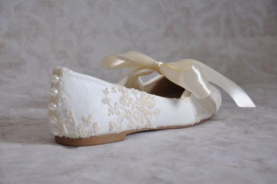 achat authentique fournir un grand choix de design de qualité Mariée dentelle Ivoire appartements mariée ballerines ...