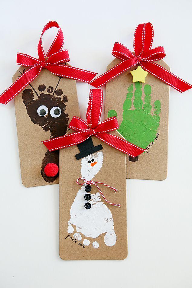 Footprint Christmas Ornaments #eighteen25girls #footprintart #christmas #christmastags