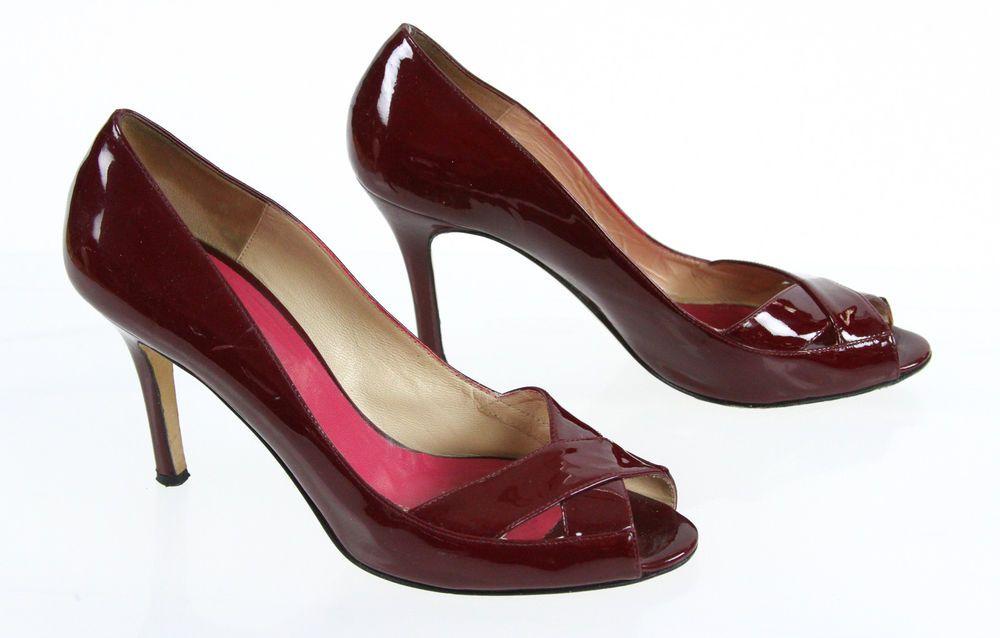 Kate Spade New York Red Patent Leather Peep Toe Pump 8B #KateSpadeNewYork #PumpsClassics