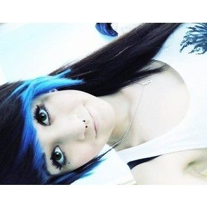 Black hair with blue tips on the bangs