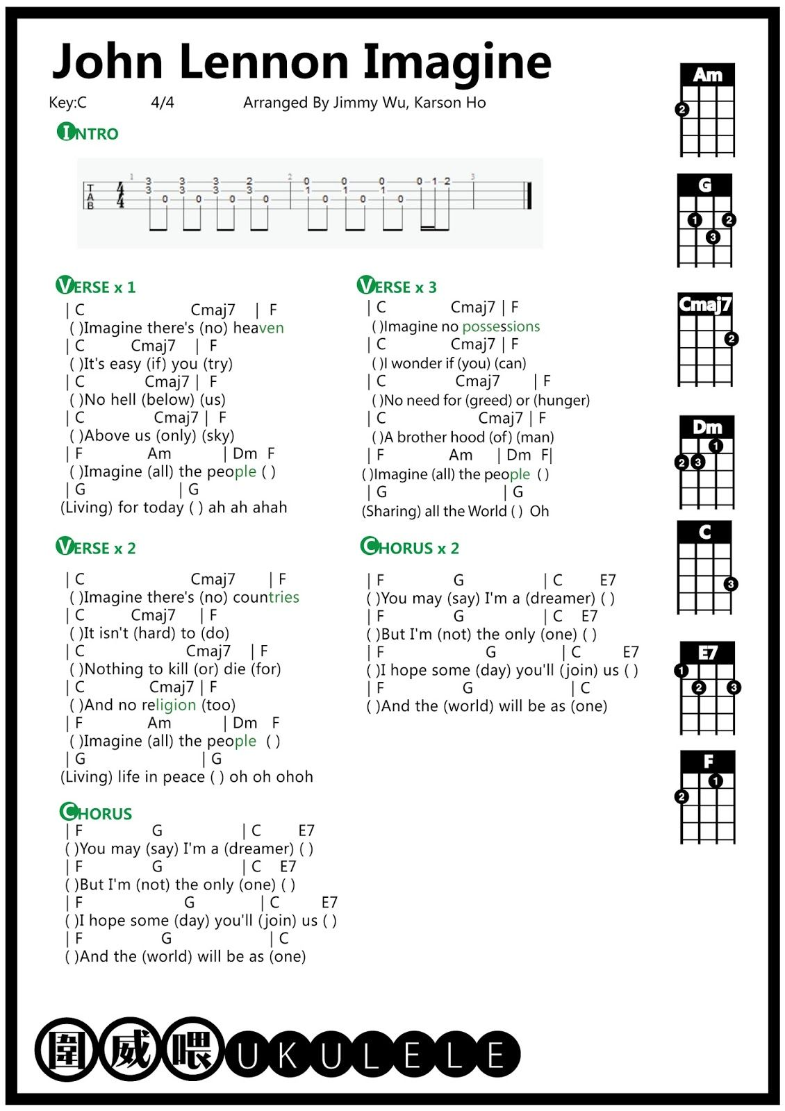 圍威喂 ukulele: John Lennon Imagine [ukulele tab] | Guitars ...