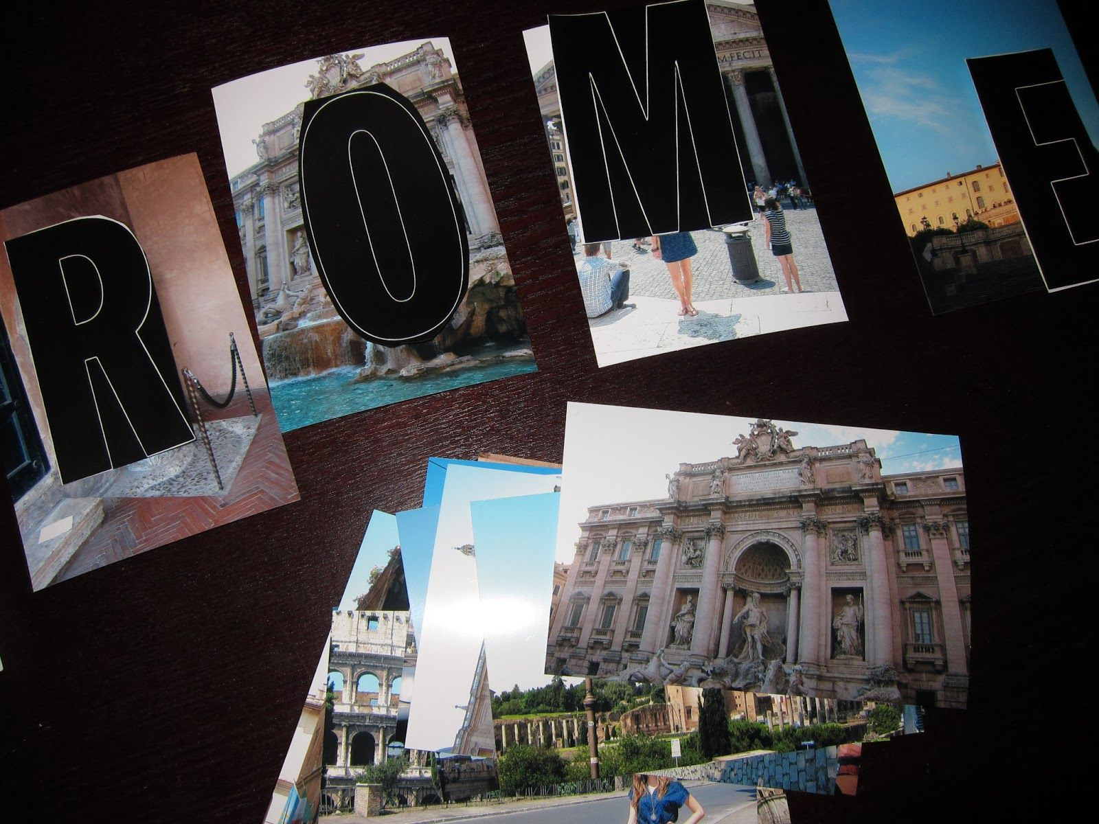 Cut your travel pictures to spell out the name of the city where you traveled. And use them in a travel shadow box