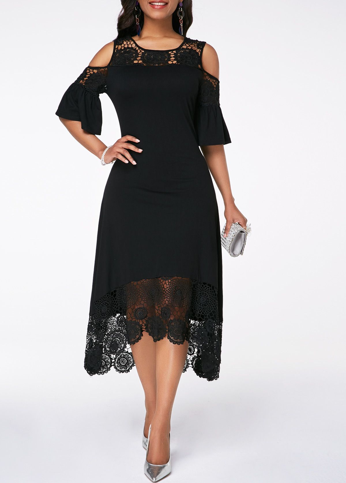 08b50f422adb Flare Cuff Cold Shoulder Crochet Detail Dress | Rotita.com - USD $33.63