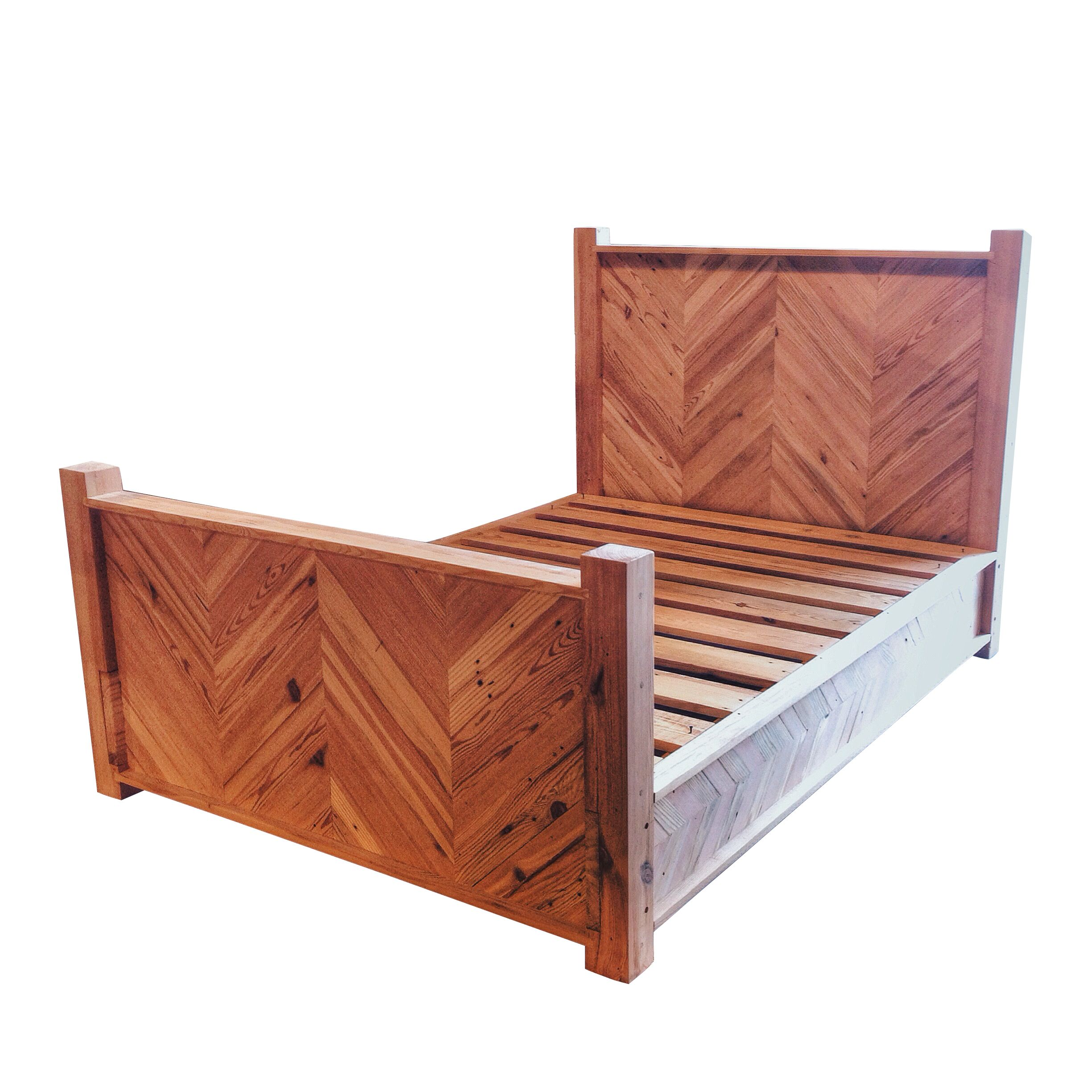 This is our Chevron Platform Bed. It is made from Antique