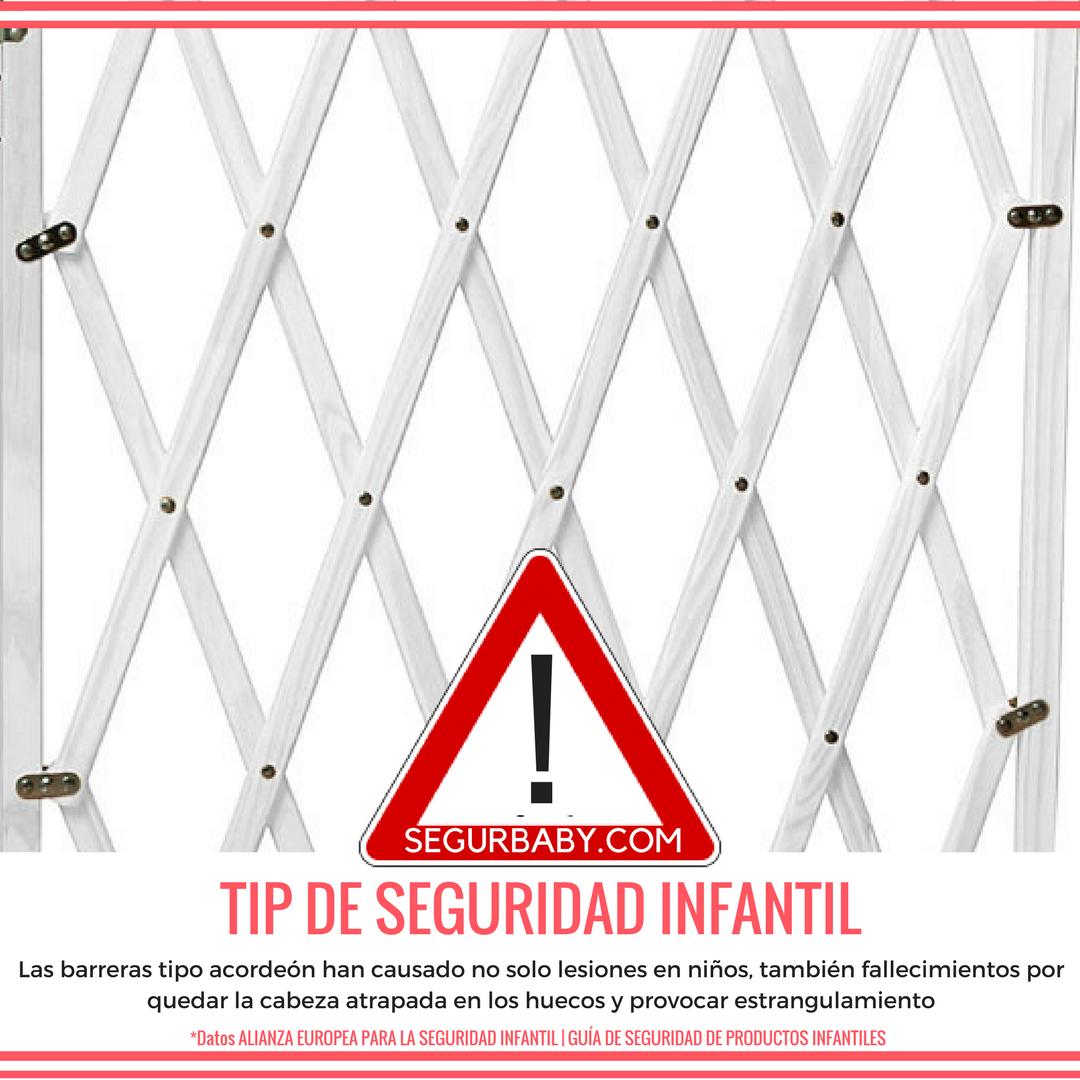 2ec19aeb43cd ALERTA SEGURIDAD INFANTIL! Las barreras de puertas y escaleras del tipo  acordeón pueden producir graves