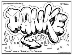 Danke German Graffiti Free Printable Coloring Page Danke Means Thank You In German