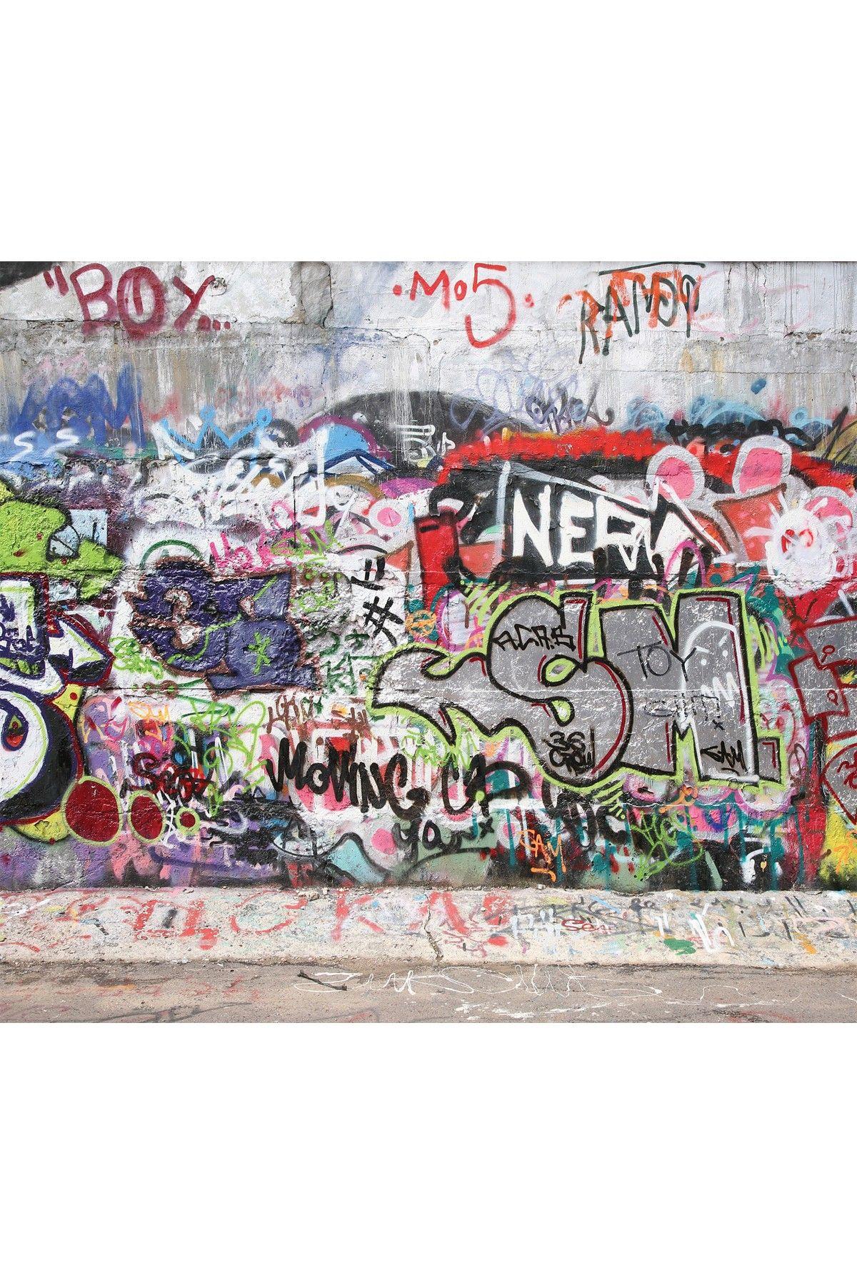 Red, White and Blue Graffiti Mural Wallpaper Wall art